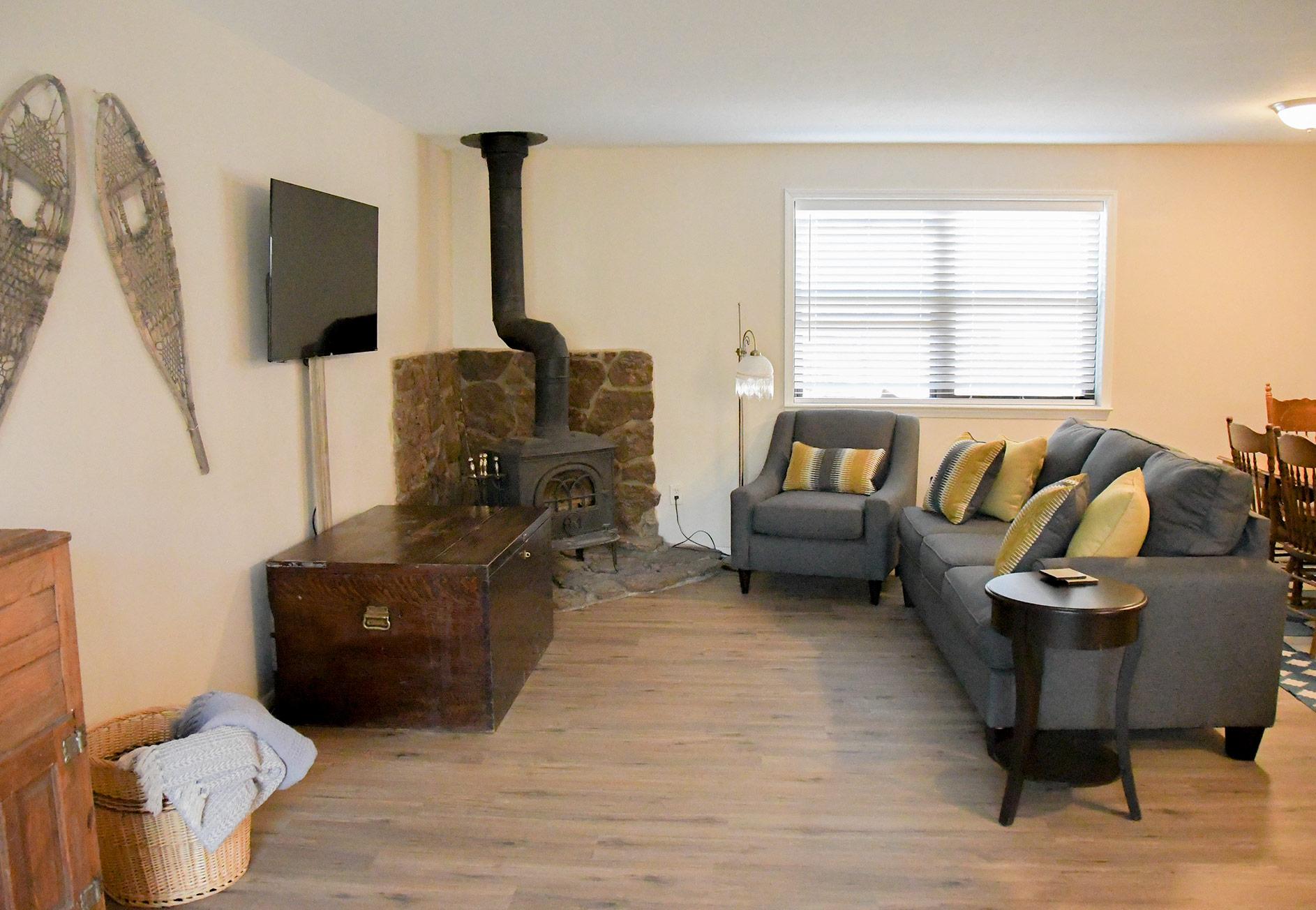 Lake City Rental - Living Room, Roku, Fireplace